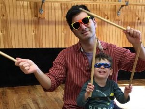 dad and son with sunglasses