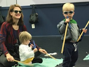 mom and children with sunglasses